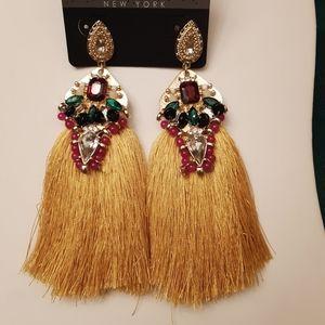 Gold Jeweled Tassle Earrings